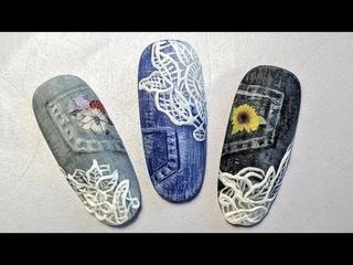 Denim nail design 💝 Джинсовый дизайн ногтей ✅