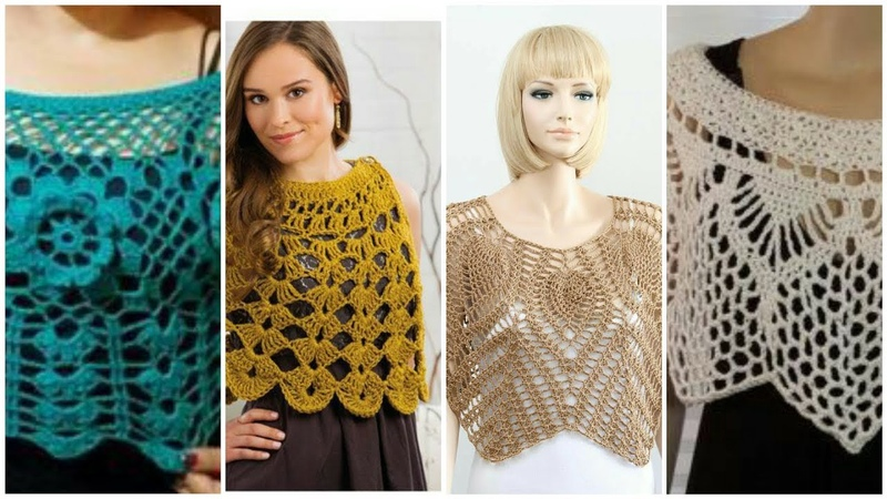 Trendy stylish crochet lace caplet shawl design for modern ladies women fashion