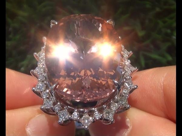 Worlds Largest GIA Certified VVS Pink Morganite Diamond 14k White Gold Vintage Ring - A121278