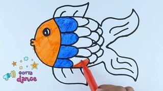 Рисуем картинку рыбки для детей Draw a picture of a fish for children Bolalar uchun baliq Chizish