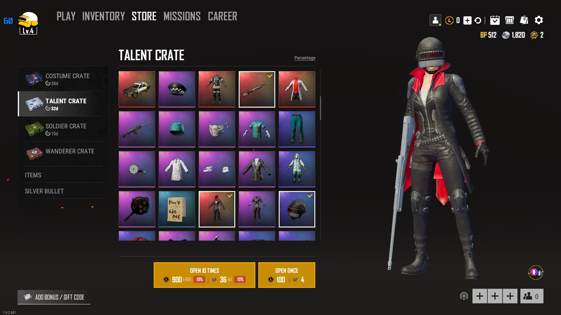 Содержимое сундуков Costume Crate, Talent Crate и Soldier Crate в PUBG LITE