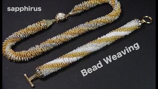 【ハンドメイドアクセサリー】シードビーズで作るチューブブレスレット✨ビーズステッチ How to make a bracelet. Odd counttubularpeyotestitch