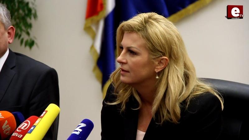 ETV Predsjednica RH u Varaždinu pitanje novinara o 4 tone lososa