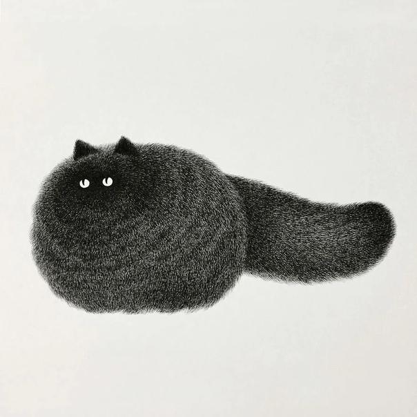 Малайский художник Камвэй Фонг (псевдоним - Бо рисует забавных котов чёрной ручкой. В результате получаются воздушные пушистые создания, которые так нравятся поклонникам творчества художника. Бо